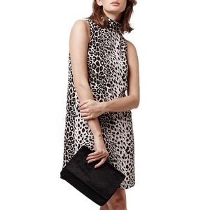 Topshop Animal Print Sleeveless Collar Shift Dress